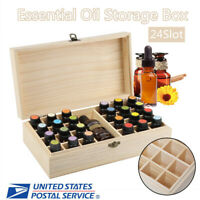 24 Slots Essential Oil Storage Box Wooden Case Container Organizer Aromatherapy