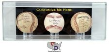 3 Three Baseball Display Case Acrylic Wall Mount Create Your Own Text and Color