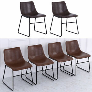 2/4x Kitchen Dining Room Chairs Dinning Chair PU Leather Padded Seat Metal Legs