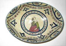 """Henriot Quimper, France, Woman w/ Green Shirt & Red Apron, Oval Bowl, 7"""""""