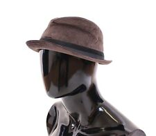 NWT $260 DOLCE & GABBANA Brown Cotton Logo Fedora Trilby Hat Cappelo s. 57 / S