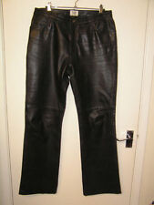 Straight Leg Leather Regular Size Trousers for Women