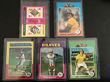 1975 TOPPS BASEBALL Five (5) card all-star lot - Fingers, Catfish, Berra, more