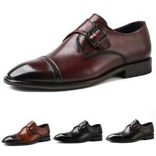 Large Size Mens Brogue Leather Shoes Buckle Pointy Toe Business Office Low Top