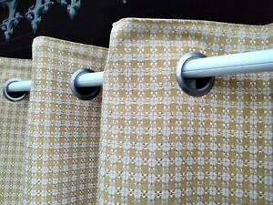 """laura Ashley mustard woven lined full length curtains 90"""" W x 91"""" D"""