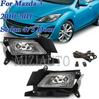 2X Bumper Fog Lights Driving Lamps w/Switch For Mazda 3 2010 2011 Sedan 4/5 Door
