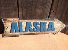 "Alaska State Flag This Way To Arrow Sign Directional Novelty Metal 17"" x 5"""