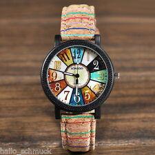HS Vintage Damen Sportuhr Armbanduhr Quarzuhr Analog Lederband Kaffeebraun