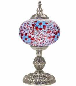 Handmade Mosaic Lamp Red-Blue Color Desk Gift Mosaic Large Size Home Decor Lamp