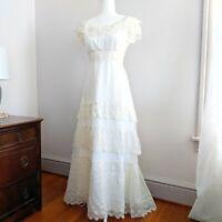 Vintage 1960s Wedding Dress Tiered Lace Empire Waist Edwardian Style 4? Train