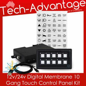 12v 24v Boat Caravan 10 Gang LED Backlit Touch Momentary Switch Panel Kit