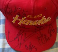 1994-95 Hawks team signed autographed auto cap hat Augmon Blaylock Smith Wilkens