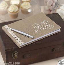 wedding vintage affair burlap hessian rustic country bride groom guest book