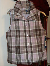 M NWT Ladies Womens Juniors Bandolino Blu Denim Vest Purple Quilted Snap Plaid