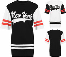Womens Plus New York Baseball Top Ladies Striped Print Baggy Oversized T-Shirt