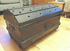 2' Vintage Dome Top Studded Metal Trunk Pirate Chest Craft Tool Toy Storage Box