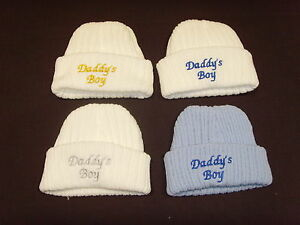 Baby Knitted Wool Embroidered Personalised Hat With Saying Daddy's Boy