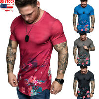 Men's Summer Floral Flower Print Casual Shirt Men Short Sleeve Dress Shirts Tops