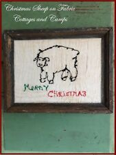 Christmas Sheep Fabric Painting on Linen & Antique Primitive Wood Picture Frame