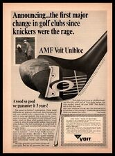 1967 AMF Voit Unibloc Wood Head Golf Clubs Knickers Vintage Print Ad