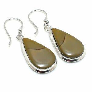 "Mookaite Gemstone Handmade 925 Sterling Silver Jewelry Earring 1.73 "" M692"