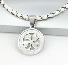 Silver Celtic Four Leaf Clover Shell Pendant 3mm White Braided Leather Necklace