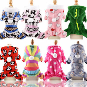 Warm Dog Jumpsuit Hooded Dog Pajamas Clothes  Puppy Costumes Cat Coat Sleepwears