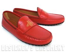 GUCCI men 9G* Red leather KANYE gold BEE driving Moccasin shoes NIB Authent $620