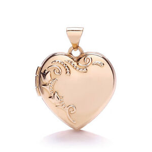 "Rose Gold Heart Locket 18"" Chain Two Photograph Hallmarked British Made"