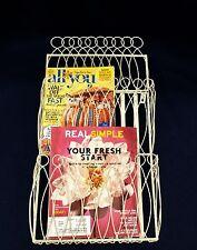 Vtg Wire Magazine Rack Mail Wall Organizer Letter Bill Holder 2 Pocket White