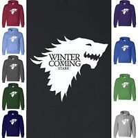 Game of Thrones WINTER IS COMING Hoodie Sweatshirt House of Stark Direwolf Hood