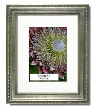 8x10 Ornate Silver Picture Frame, Clear Glass, Single Warm White Mat for 5x7.
