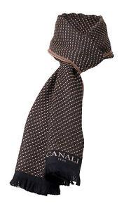Canali Black/Beige Polka Dot Weave Pure Wool Scarf
