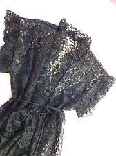 NEW Wedding Black Lace Nighty Negliee Sexy Jacket Frederick's Hollywood Glamour