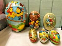 6 Vintage German Easter Egg Paper Mache Cardboard Candy Containers Erzgebrge