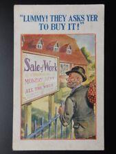 Comic Postcard: Tramp Employment Job Theme LUMMY! TTHEY ASK YER TO BUY IT! c1934