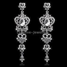Luxurious Chandelier Diamante Crystal White K Plated Women Bridal Long Earrings