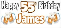 Beer 55th Birthday Banner x 2 Party Decorations Mens Husband Dad Grandad Son