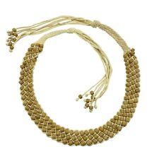 Glass Pony Beads Paracord Belt Beige