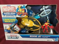MARVEL SUPER HERO ADVENTURES  - PLAYSKOOL HEROES - RESCUE JET WOLVERINE IRON MAN