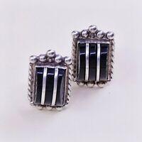 Vtg Mexico Sterling 925 Silver Handmade Screw Back Earrings W Obsidian Inlay