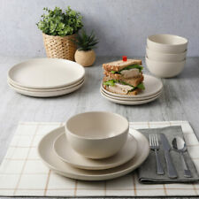 DINNERWARE SET 12-Piece Service for 4 Round Matte Cream White Stoneware
