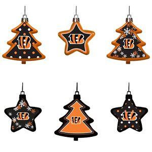 Cincinnati Bengals Shatterproof TREES & STARS Christmas Tree Ornaments Set 6pack