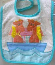 Mulling Square Baby Boy Girl Large Giraffe Bib Brand New White Aqua Noah's Ark