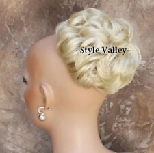Curly Bleach  Blonde BUN Extension Hairpiece  short Chignon Wedding Hair Piece