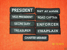 (9) PC BIKER CLUB RANK PATCHES - PRES-VP-SECT AND MORE