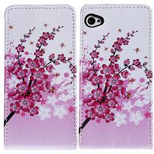 Flip Case Apple iPhone 4 / 4S Blume Blumen Komplett Schutzhülle  Bunt Weiß Pink