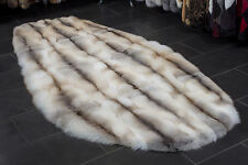 1730 Fawnlight Fox Rug - Oval Shape Real Fox Fur Carpet Genuine Fur Rug Fox Fur