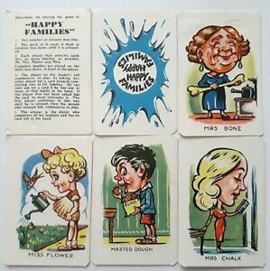 VINTAGE PLAYING CARDS CARD GAME HAPPY FAMILIES CLIFFORD 1950 36 CARDS RULES BOX