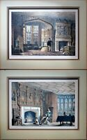 Vintage Etching Print by Joseph Nash, Pair of Matted Color, Excellent Conditions